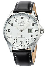 MASTER TIME Herren Funk-Armbanduhr Basic Lederband Schwarz MTGA-10686-10L