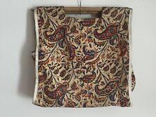 1960s-1970s WOOD Dowel Handle Jacobean CANVAS BAG SEWING KNITTING Bag TOTE 15X15