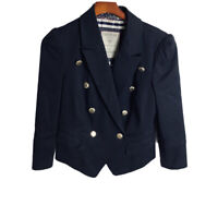Guess Crop Military Style Blazer Size L Navy Blue Gold Buttons 3/4 Sleeves