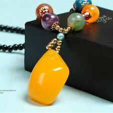 Butter Models Amber Yellow Ethnic Style Necklace Sweater Chain Jewelry Pendant