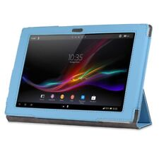 Blue Tri Folding Leather Folio Skin Stand Case Coverfor Sony Xperia Tablet Z