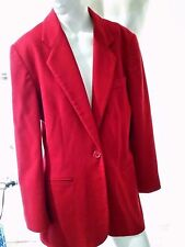 EXC LANDS END Wool Cashmere Red Blazer Jacket Womens Size 8 With Pockets Lined