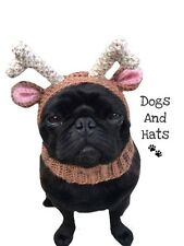 The Reindeer hat, snood for your dog. Pug hat. Dog Hat. Xmas Costume. Deer Hat
