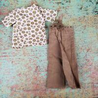 Vintage Ken Doll Size White & Brown Floral Shirt Brown Tie Pants Set Mod? Barbie