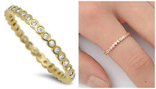 Sterling Silver 925 STACKABLE ETERNITY YELLOW GOLD CLEAR CZ RING 2MM SIZES 2-12