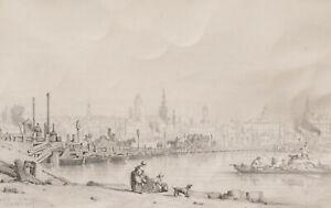 Jules Achille Noël dessin tableau paysage Allemagne vue Mayence Mainz Rhin 19ème