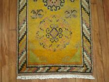 Antique East Turkestan Khotan Yellow Rug Size 2'1''x4'