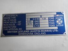 Plaque Signalétique Id-plate AUSTIN LEYLAND Mini BMC Countryman Combi Targhetta sa