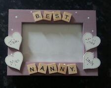 "Bespoke Personalised best nanny photo Frame 6""x4"" scrabble art gift keepsake"
