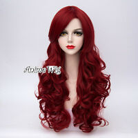 Curly Fashion Party Cosplay Lolita Wine Red Long 65CM Full Hair Wig+Wig Cap