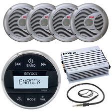 "Marine 400W Amplifier, Enrock Bluetooth Boat Round Radio,Antenna, 6.5"" Speakers"