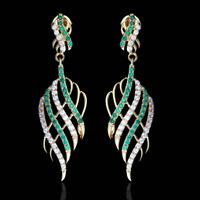 1.00 TCW Emerald & Diamond Dangle Earrings 14k Yellow Gold Over