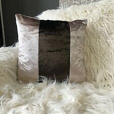 "Cushions Set of 4 Crushed Velvet Cushion covers 18""x18"" CHAMPAGNE/BROWN 2 TONE"