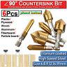 8Pcs Countersink Drill Bit Set 5 Flute 90° Counter 6-19mm Sink Chamfer Cutter