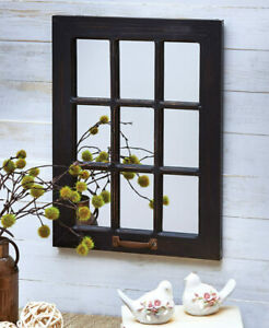 Distressed Wood Windowpane Mirror Country Farmhouse Decor White Natural Black
