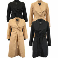 ladies jacket Brave Soul womens coat wool mix open front belt casual winter new