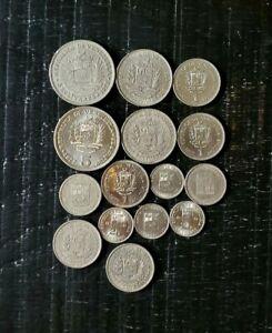VENEZUELA BOLIVAR COINS Lot 15 1967-1977 Nice Details AU