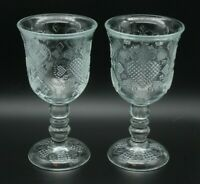 "Set of 2 Avon 1978 Clear Glass Hearts Diamonds Wine Water Goblet 7"" Fostoria"