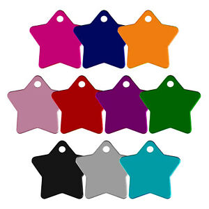 STAR SHAPE ALLOY DOG ID NAME TAG DISC PERSONALISED ENGRAVED PET IDENTITY TAGS