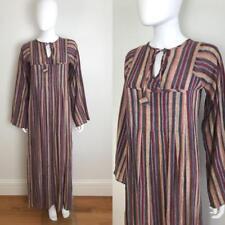 1970s Vtg Gypsy Indian Boho Bohemian GAUZE Cotton Striped Dress Caftan Maxi S M