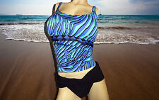 NWT GOTTEX Cobalt Zebra Print Black Bikini BATHING SUIT SWIMSUIT TANKINI SET- 14
