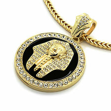"""Mens 14k Gold Plated XL Black Pharaoh Pendant with 4mm 30"""" Franco Chain"""