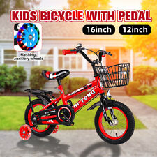"12""/16"" Kids Bike Bicycle Adjustable Seat With Pedal Training Wheel Boy Girl Red"