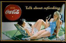 Coca Cola Two Lady's Blechschild Schild 3D geprägt gewölbt Tin Sign 20 x 30 cm