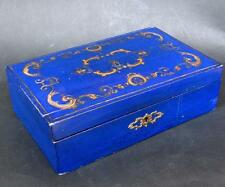 Top 18th./ 19th. C. French lacquerware vernis martin royal palais blue gold box