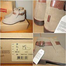 LEVIS SANCINO ANKLE BOOTS suede leather strap flat desert 39 UK 6 BNWT BNIB