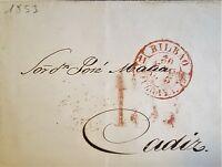 1853 SPAIN PREPHILATELIC COVER ☆ FROM BILBAO TO CADIZ RARE THIS NICE ☆