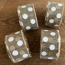 New ListingBurlap White Polka Dots Wire Edged Ribbon 4 Rolls x 9 Ft = 36 / 12 Yards Wedding