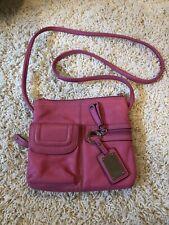 Tignanello Pink Leather Crossbody pocket organizer bag purse Pebbled leather