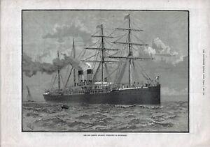 ANTIQUE 1886 PRINT SHIPPING THE NEW FRENCH ATLANTIC STEAM SHIP LA BOUROGNE b16