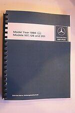 1986 mercedes owners service repair book shop manual w107 sl w126 sec 300sdl 201