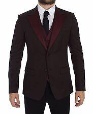 NWT $2200 DOLCE & GABBANA Bordeaux Slim Fit Wool Silk Blazer Vest IT52 / US42/ L