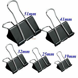 12 X 15mm,19mm,25mm,32mm,41mm,51mm Foldback Office Binder Black Clips Bulldog