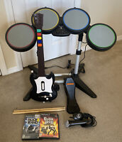 Playstation 2 Guitar Hero Bundle Drums Microphone Guitar Rock Band World Tour