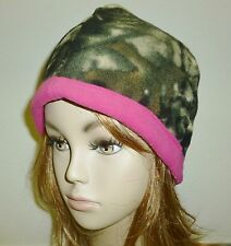 NWT Ladies Camo and Pink Fleece Beanie Hat, Reversible, One Size