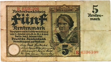 1926 Germany 5 Rentenmark Banknote
