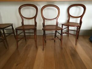 Set Of Three Vintage Balloon Back Wooden Cane Chairs