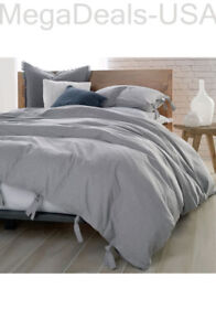 DNKY Pure Comfy Grey Stripe Cotton FULL / QUEEN Duvet Cover