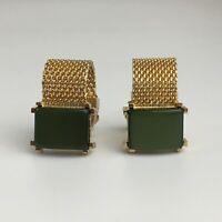 Swank Vintage Gold Tone Green Mesh Wrap Cuff links