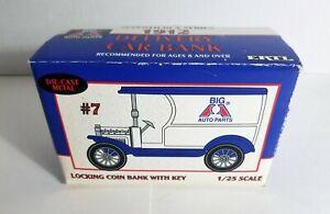 """ERTL Big """"A"""" Auto Parts 1912 Delivery Locking Car Bank #7 Die Cast Metal 1/25"""