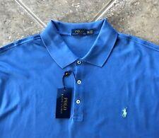 Polo Ralph Lauren Mesh Shirt Mens 4XLT Blue w/ Lt Mint Pony $98 Classic Fit NWT