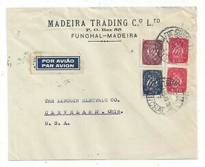 Portugal Funchal 1945 Airmail Cover to US, Sailing Ship Mix