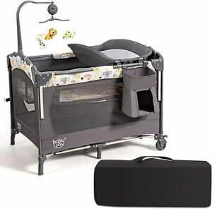 3 in 1 Portable Baby Travel Cot Crib Playard Infant Bassinet Bed Mattress Music