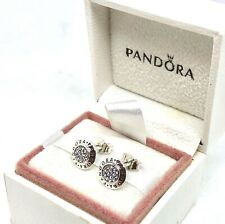 Genuine Pandora Signature Logo Stud Earrings S925 ALE