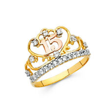 Girl 14k Yellow Tri Tone Real Gold CZ 15 Quinceañera Crown Birthday Ring Band