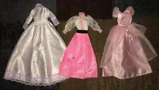 LOT OF 3 *** BARBIE DRESSES White Wedding Vintage Genuine pink lace